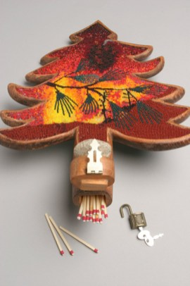 Waltz of the Winds (matches), 2003, Seed beads and wood, 16 x 11 x 2 inches