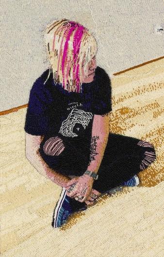 Jennifer Celio, 2018, Seed beads hand sewn on felt, 16.5 x 10.5 inches
