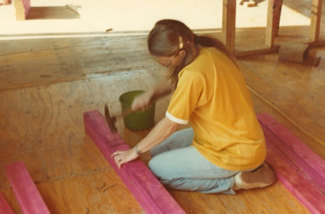 Debi working on the first Corias home in 1981