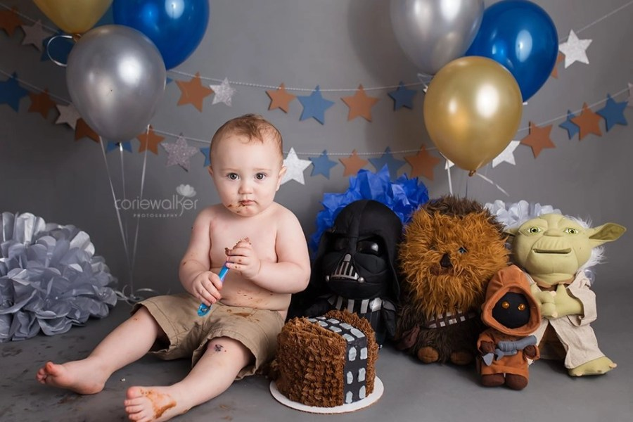 Star Wars first birthday cake smash