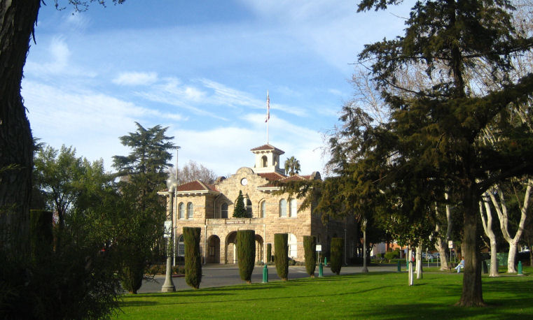 Sonoma City Hall through the trees