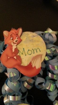 The button I made for Sarah to wear for the shower.