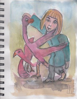 March18 drawing on watercolor in sketchbook