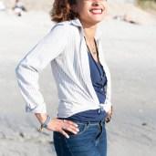 Portrait d'une femme Caroline à la plage des Sables Blancs