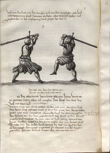 When someone cuts ahainst you from above from their right side, so cut with a strong Zornhau with the long edge from your right shoulder. If he is weak in the bind, thrust in with the point along his blade to his face, and threaten to stab him.