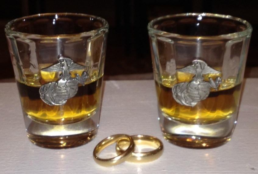 Wedding bands, whiskey, and the Corps. There's nothing more romantic!