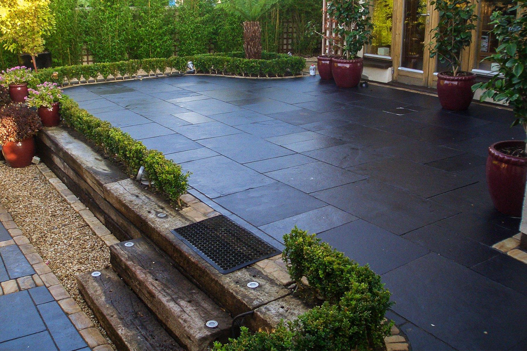 black limestone paving