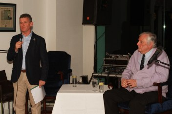MC Greg Allen from RTE introduces legendary golf commentator Peter Alliss for the Q&A at the members evening at Castlemarty Links Golf Club. Picture: Niall O'Shea