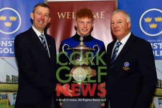 Jim Long, Chairman Munster Golf presenting the Munster Students Championship Trophy to John Murphy (Kinsale/Maynooth University), also iscluded is Dave Prendergast, Match Secretary Munster Golf. Picture: Niall O'Shea