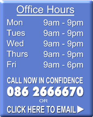 Cork Life Coach Paul Hunter office hours are 9am to 9pm Monday to Thursday and 9am to 6pm on Fridays
