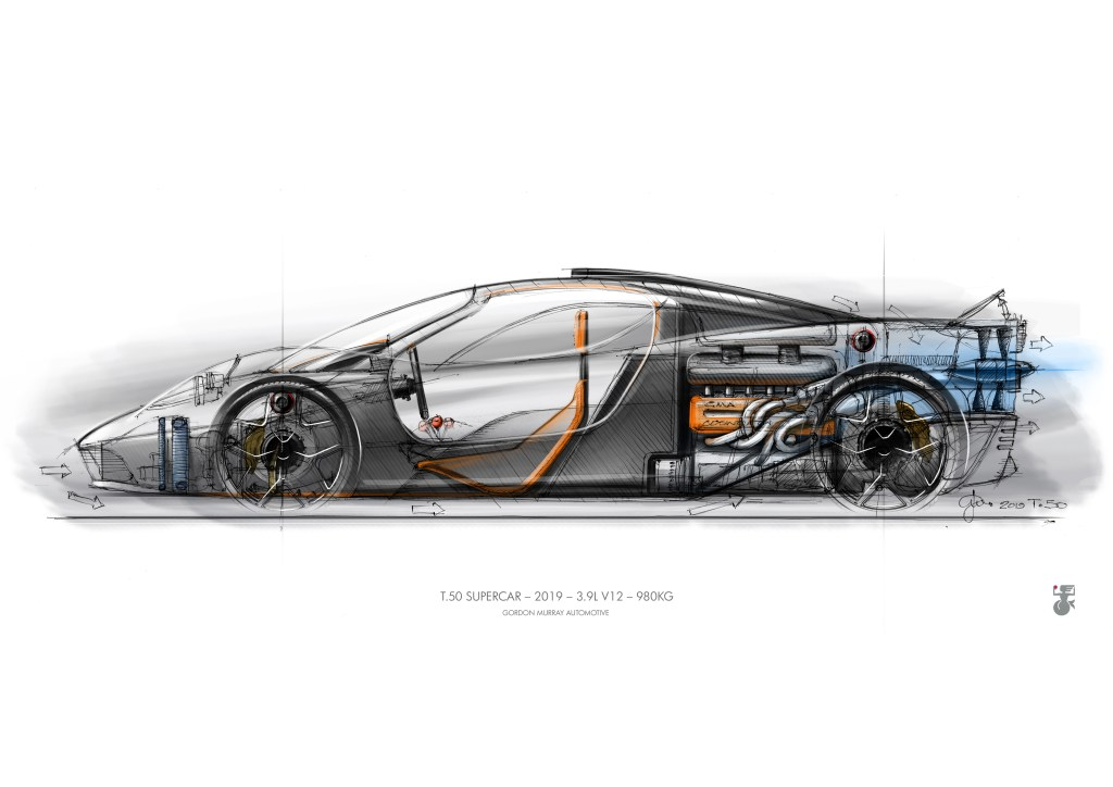 A drawing of the GMD T.50 provided for the press release from Gordon Murray Design