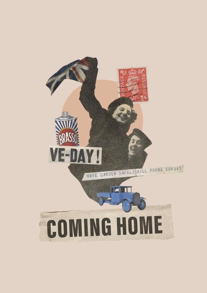 Collage image showing ladies waving Union Jack flags, period toys and products and the title; Coming Home.