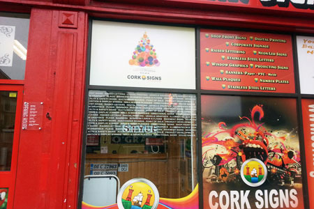 Cork Signs window