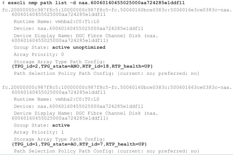 esxcli nmp path list