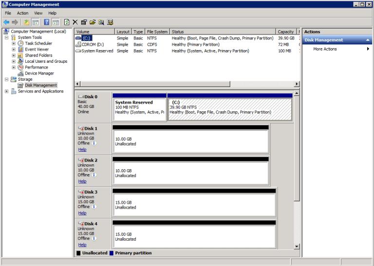 5. offline disks
