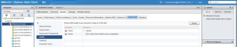 initial health before esxi upgrade