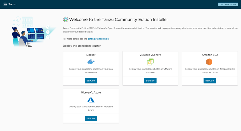 Tanzu Community Edition Welcome Page