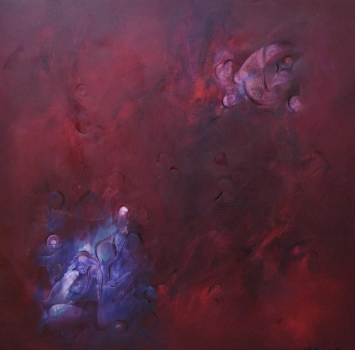 Balogh Ádám: Az örökkévalóság éji tánca /100x100 cm, olaj, vászon, 2010/