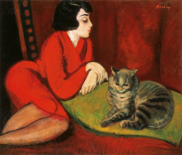 Berény Róbert: Lány pamlagon macskával Forrás:Kieselbach Galéria Facebook oldala
