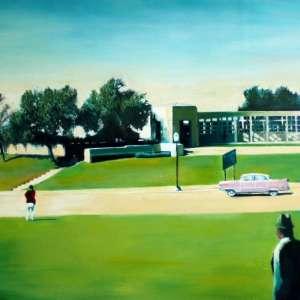 surrealist landscape oil painting