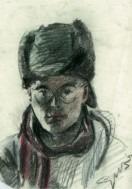 Impressionistic portrait pastel drawing thumbnail