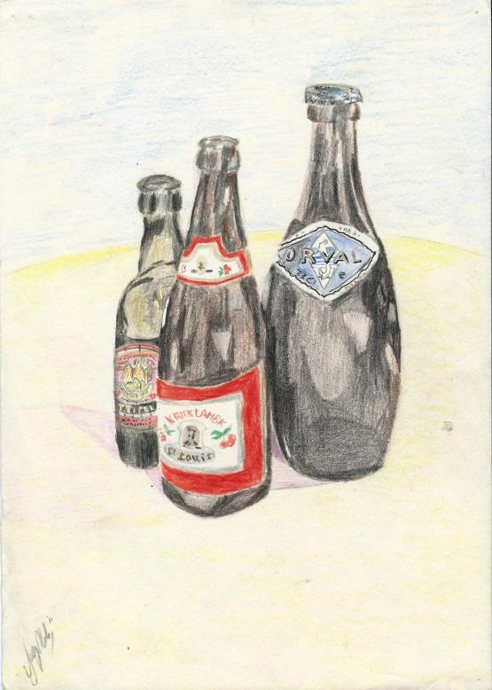 realistic colored pencil drawing of beer bottles