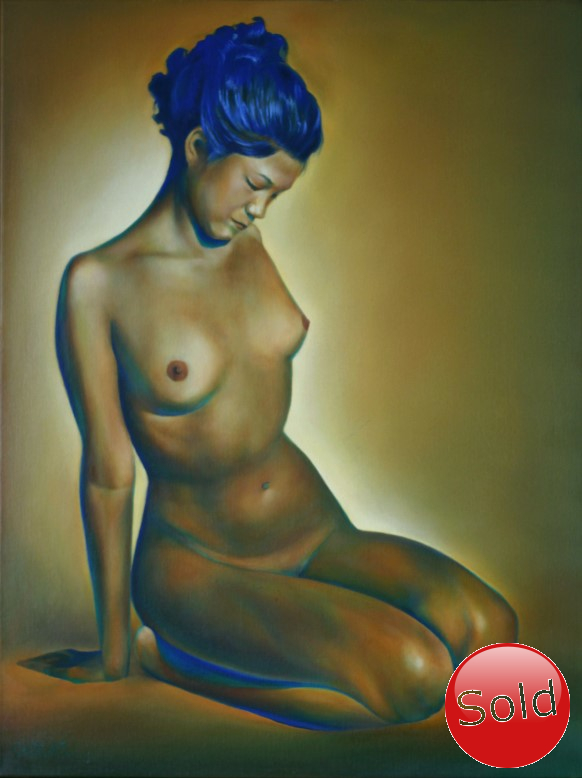 Surrealistic nude oil painting in yellow