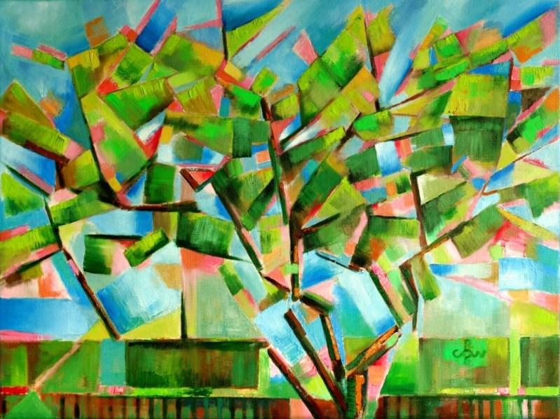 cubistic treescape oil painting