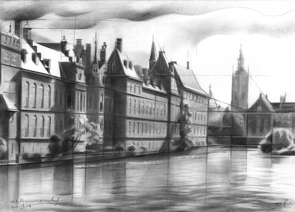 cubistic urban graphite pencil drawing