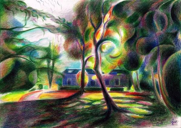 cubistic treescape colored pencil drawing
