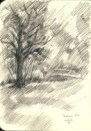 impressionistic landscape graphite pencil sketch thumbnail