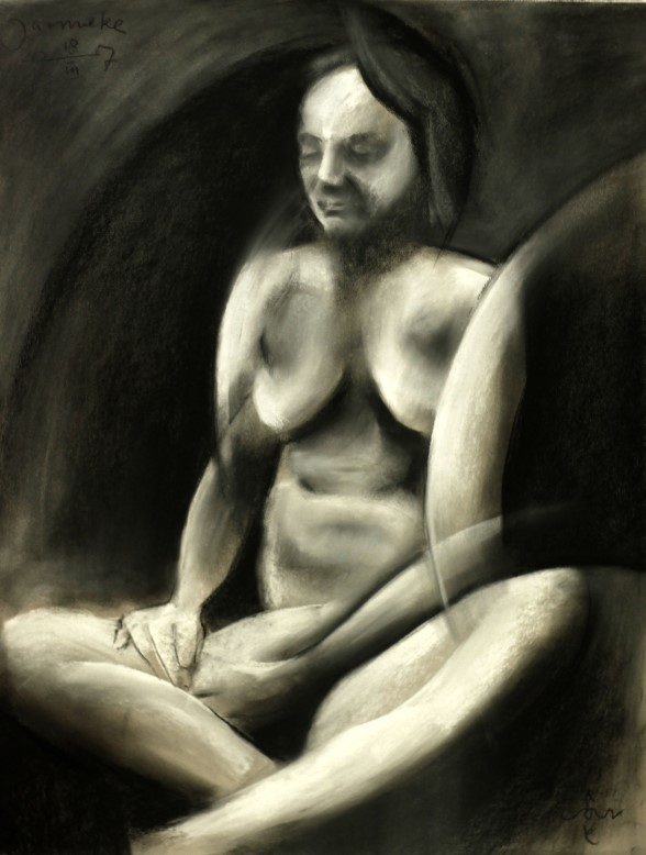 cubistic nude charcoal drawing