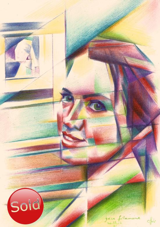 Cubistic portrait colored pencil painting