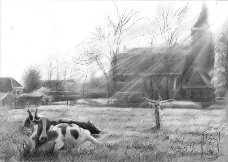Surrealistic landscape graphite pencil drawing