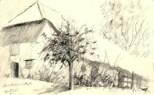 realistic farmhouse graphite pencil drawing thumbnail