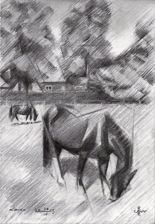cubistic horse graphite pencil drawing