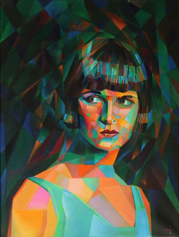 cubistic portrait oil painting of Louise Brooks