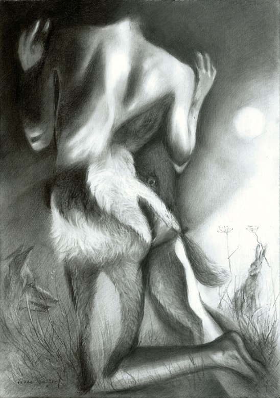 surrealistic nude graphite pencil drawing