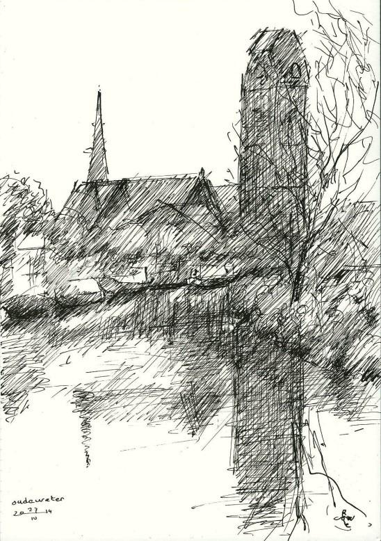 impressionistic cityscape pen drawing