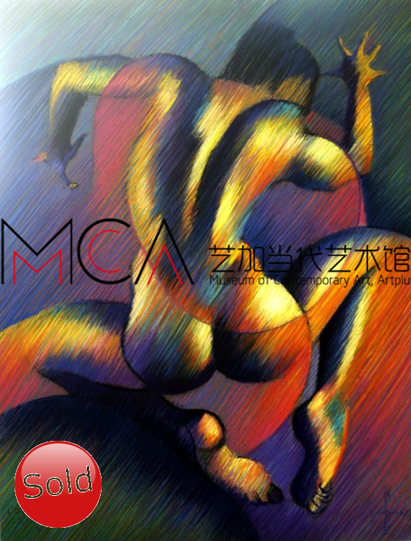 cubistic nude pastel drawing advertisement