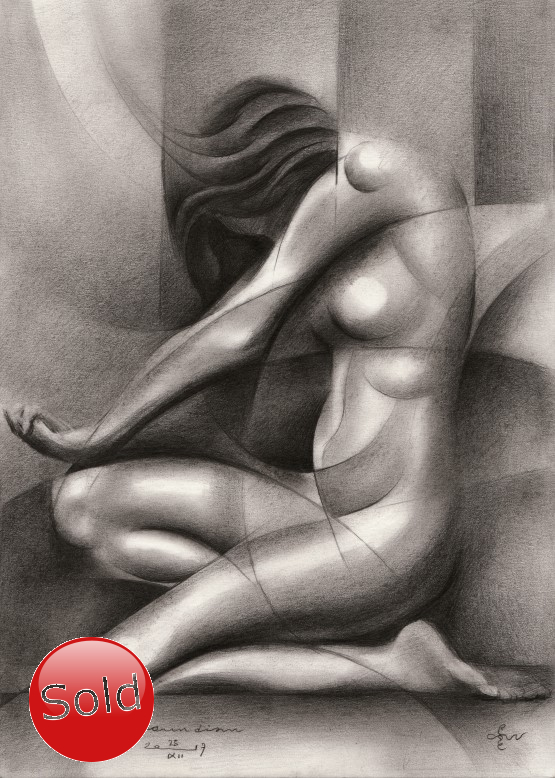 Cubistic nude graphite pencil drawing