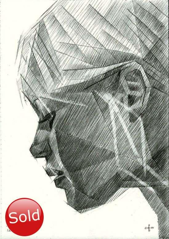 cubist brigitte bardot portrait graphite pencil drawing promotion