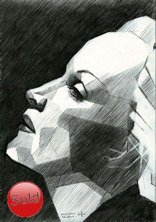 cubist portrait graphite pencil drawing promotion