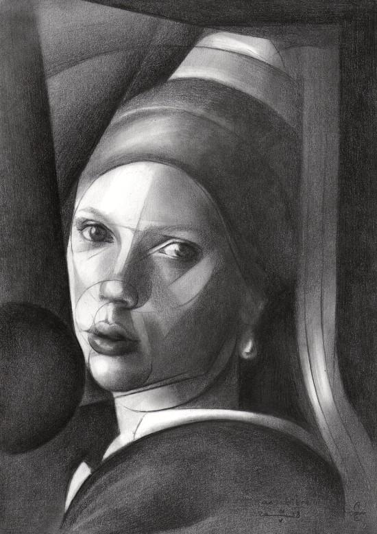 Cubistic portrait graphite pencil drawing of Scarlett Johansson