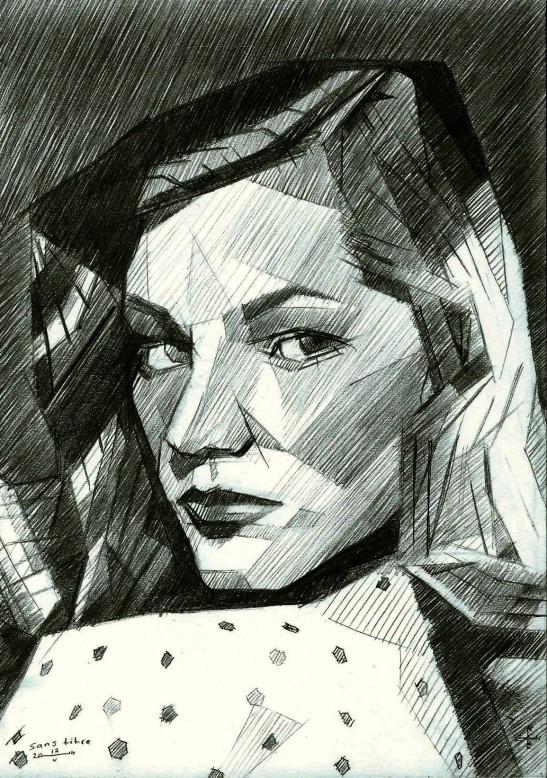 cubistic portrait graphite pencil drawing of Lauren Bacall