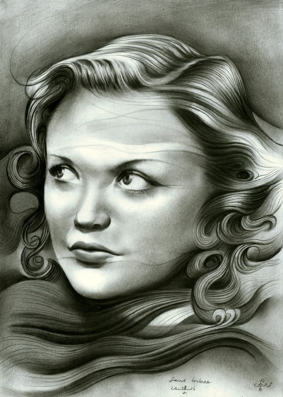 Cubistic portrait graphite pencil drawing of Simone Simon