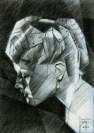 cubistic portrait graphite pencil drawing thumbnail of Lana Turner