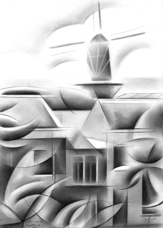 Cubsitic cityscape graphite pencil drawing