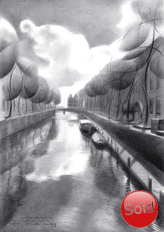 surrealist urban graphite pencil drawing promotion