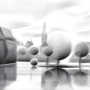 cubistic cityscape graphite pencil drawing